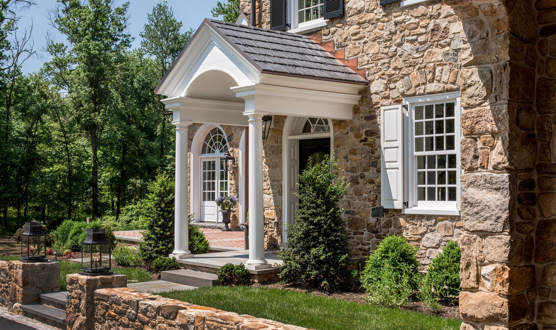 fieldstone home in horsham near talamore country club front entry