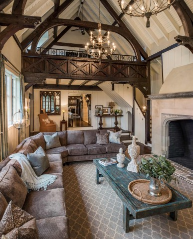 Arts and Crafts home with tudor and gothic styles living room
