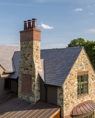 English Country House Inspired Greenville Home chimney detail