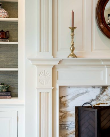quaint cottage feel for greenville home living room fireplace detail
