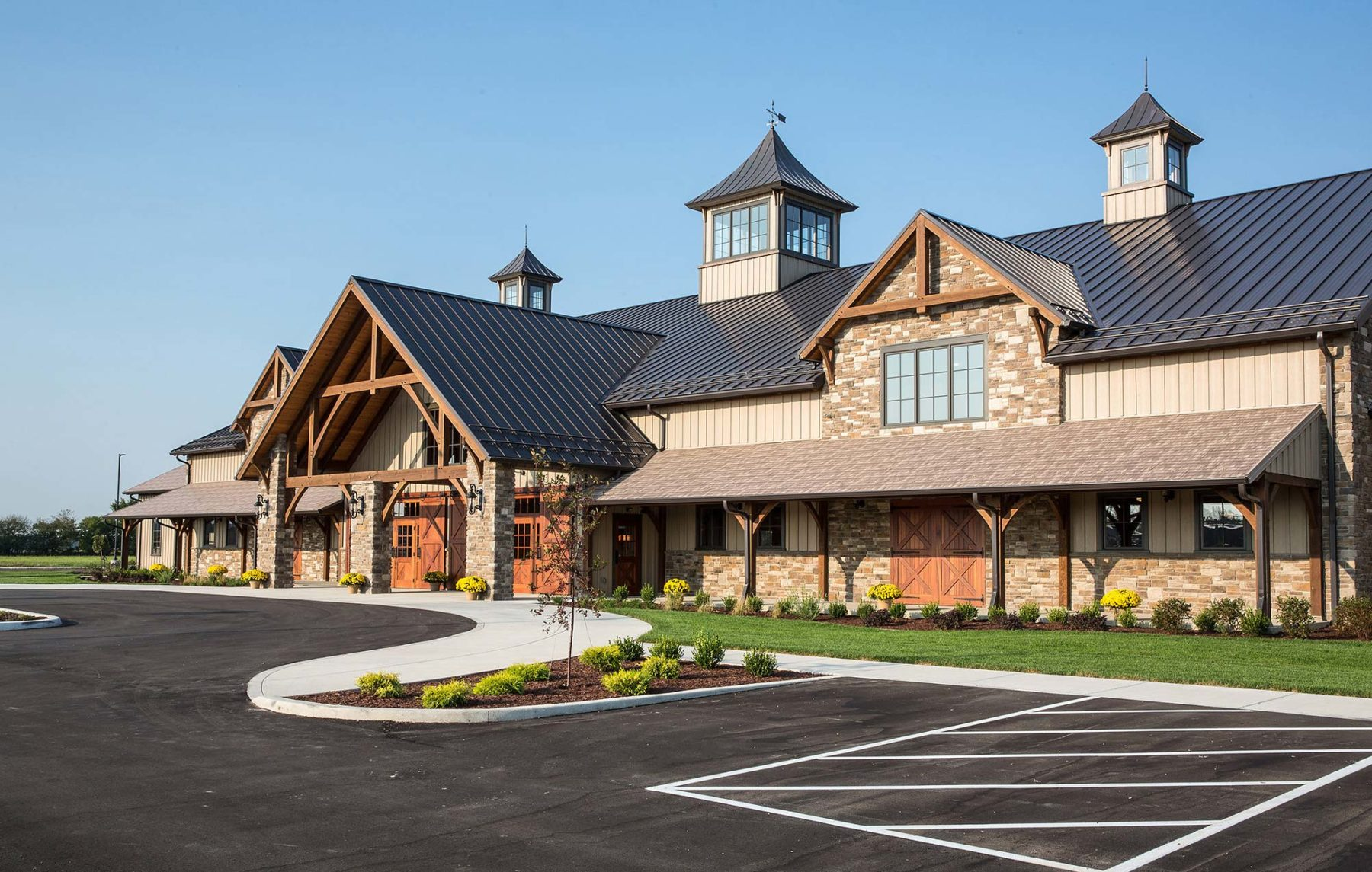 timber-framed event space Indiana exterior